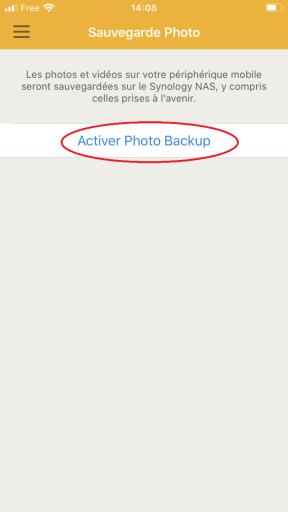 Activation des sauvegardes de photos avec l'application DS FILE de SYNOLOGY sur IPhone
