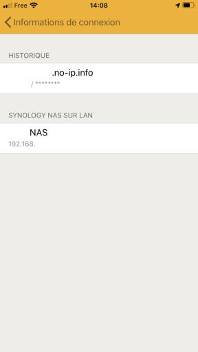 Choix du profil de connection sur DS FILE de Synology sur un IPhone