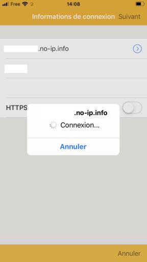 Page de connection de la fonctionnalité Photo Backup de l'application DS FILE de Synology pour IPhone