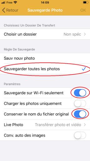Choix des photos a sauvegarder et paramétrage de DS FILE de Synology pour sauvegarde d'un IPhone