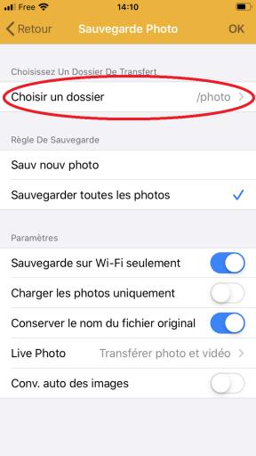 Choix du dossier de destination des fichiers sauvegardés sur le serveur NAS Synology avec l'application DS FILE pour IPhone