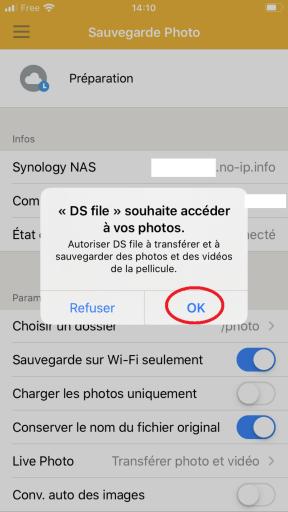 Réglage des paramètres afin de permettre a DS FILE d'accéder aux photos présente dans l'IPhone à sauvegarder