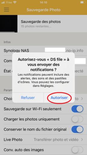 Réglage des paramètres afin de permettre a DS FILE de vous envoyer des notifications sur l'IPhone à sauvegarder