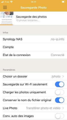 Démarrage de la sauvegarde des photos avec DS FILE de Synology sur   IPhone